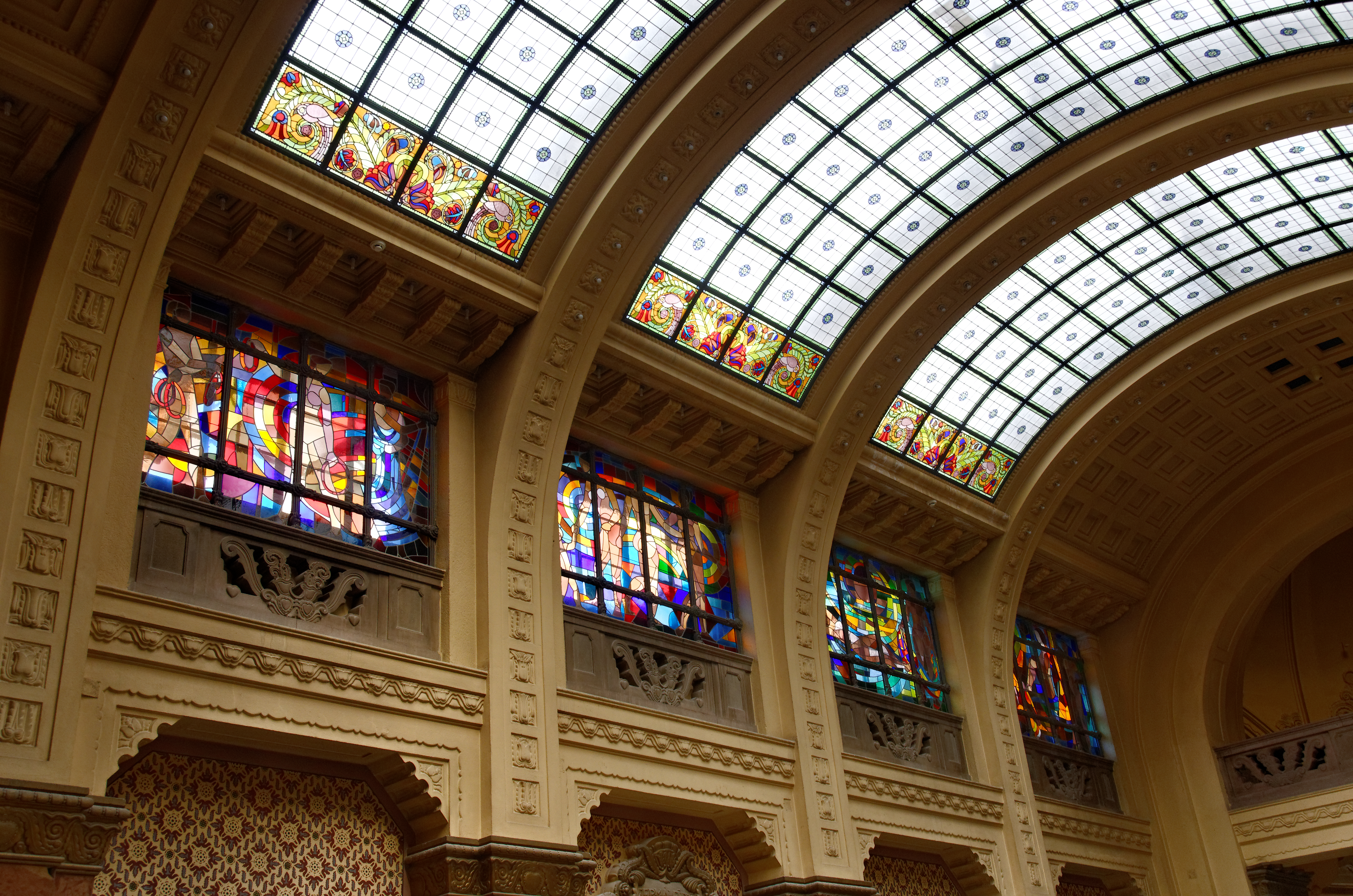 Stained glasses on Gellért bath's interior