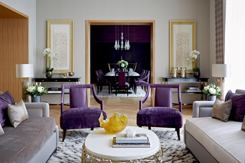 lila bútorok luxus ingatlanokban Budapesten