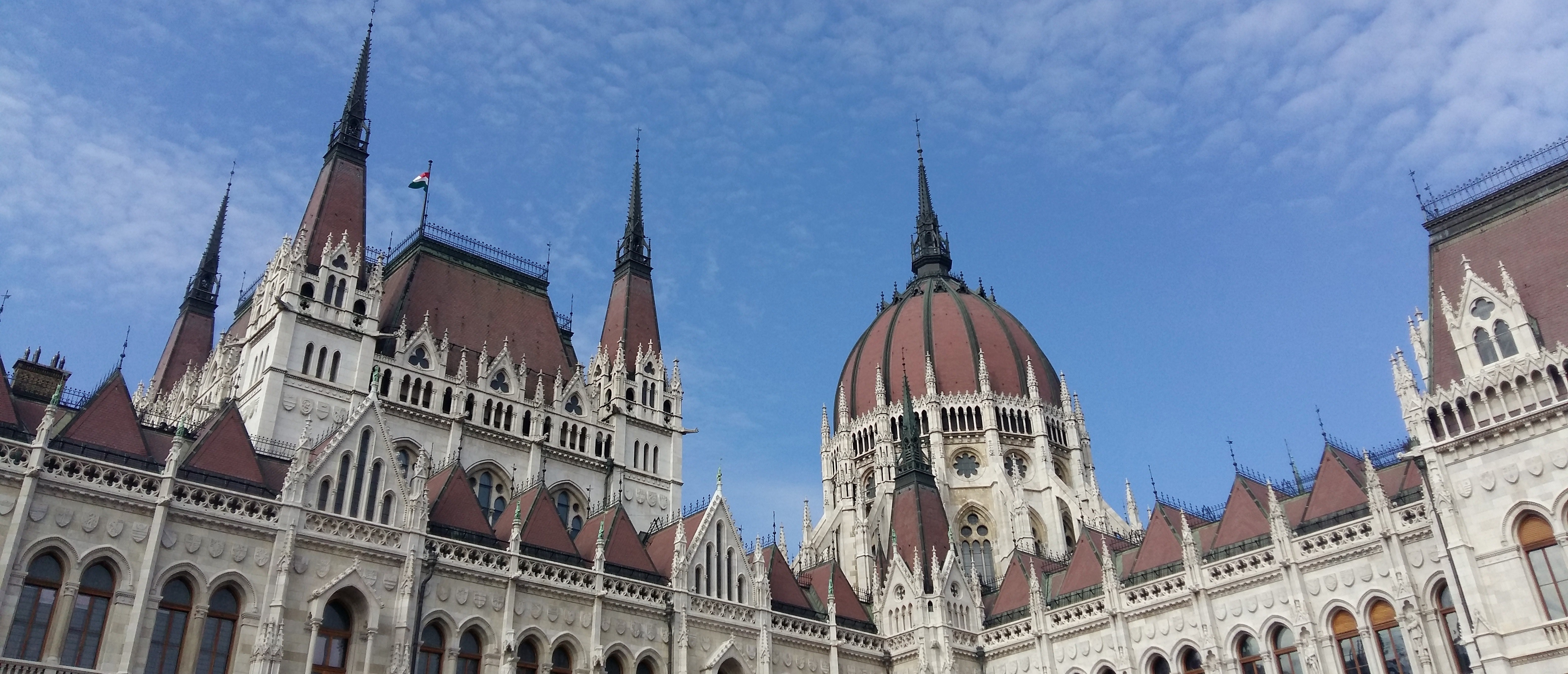 Gothic facade of the hungarian parlement by day